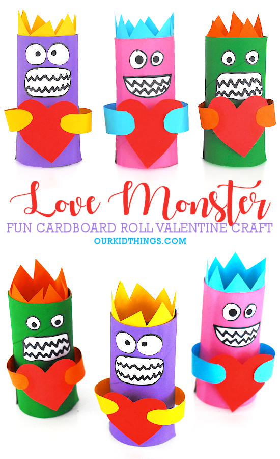 Cardboard Roll Love Monster Craft pin image