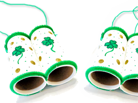 St. Patrick's Day Cardboard Roll Binoculars Craft styled image
