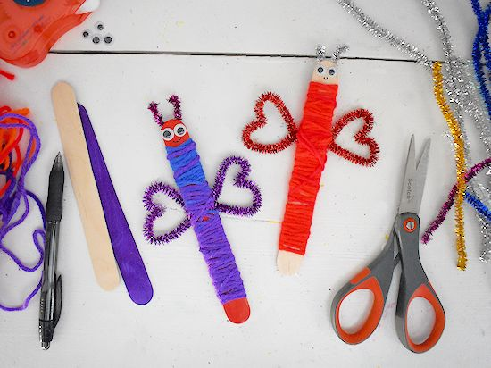 craft stick valentine's day love bugs