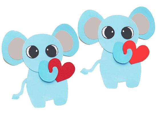 Paper Heart Elephant Valentine Craft styled image on white background