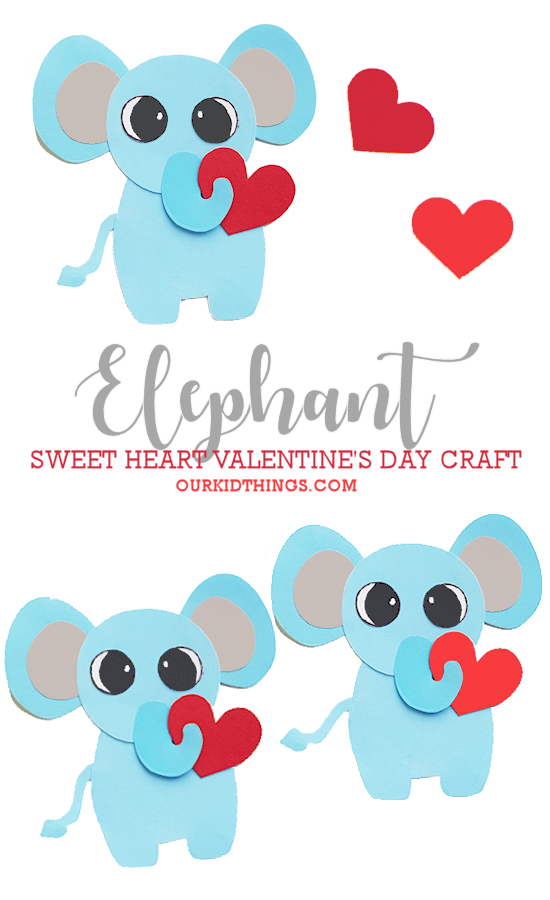 Paper Heart Elephant Valentine Craft pin image