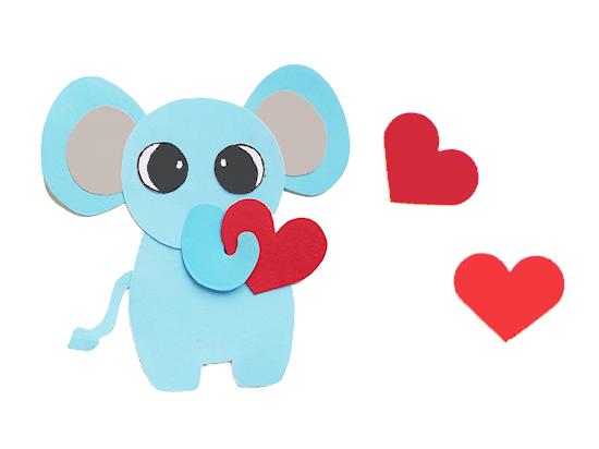 Paper Heart Elephant Valentine Craft styled image