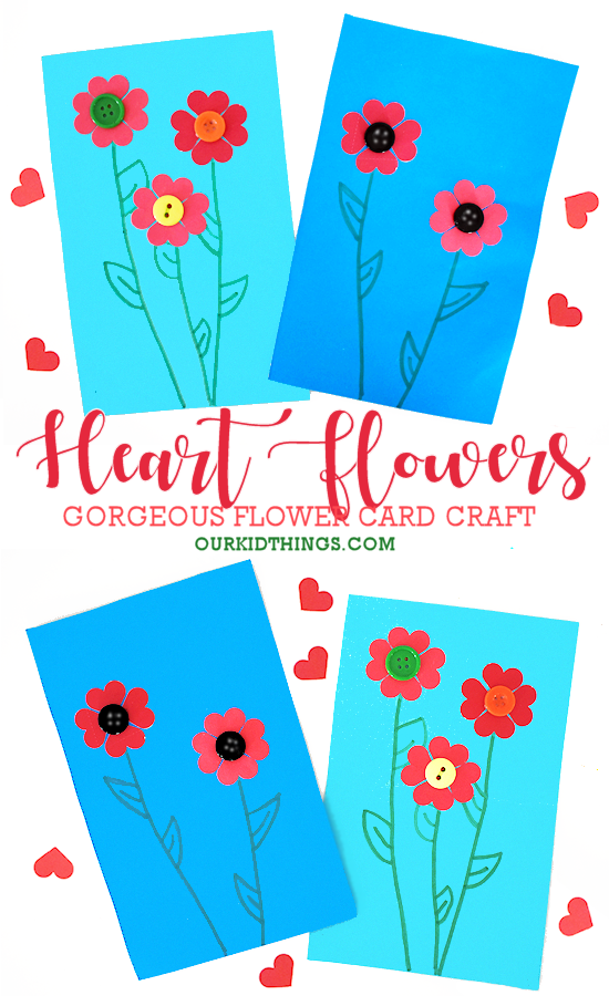 Heart Flower Card Craft pin image