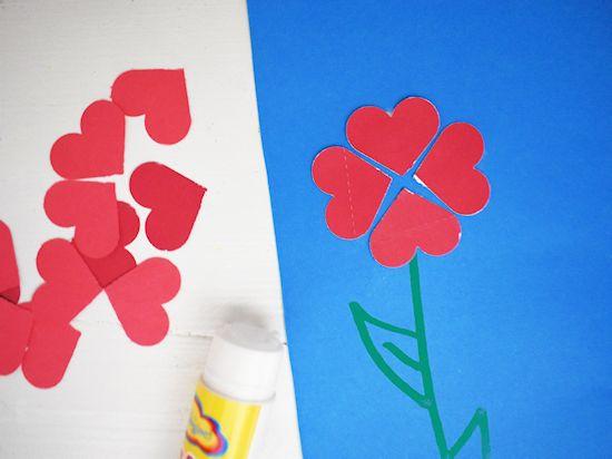 heart flowers glued