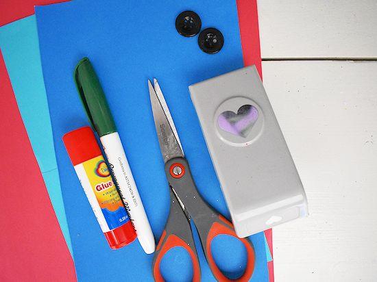 Heart Flower Card Craft supplies needed