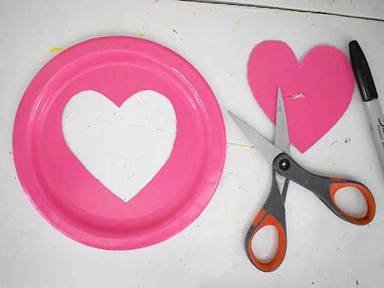 Heart cut from small paper plate.