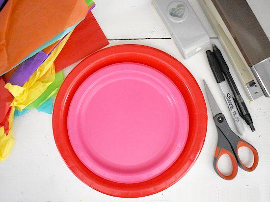 Paper Plate Snail Heart Suncatcher Craft supplies needed.