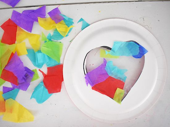 Tissue paper pieces stuck to contact paper.