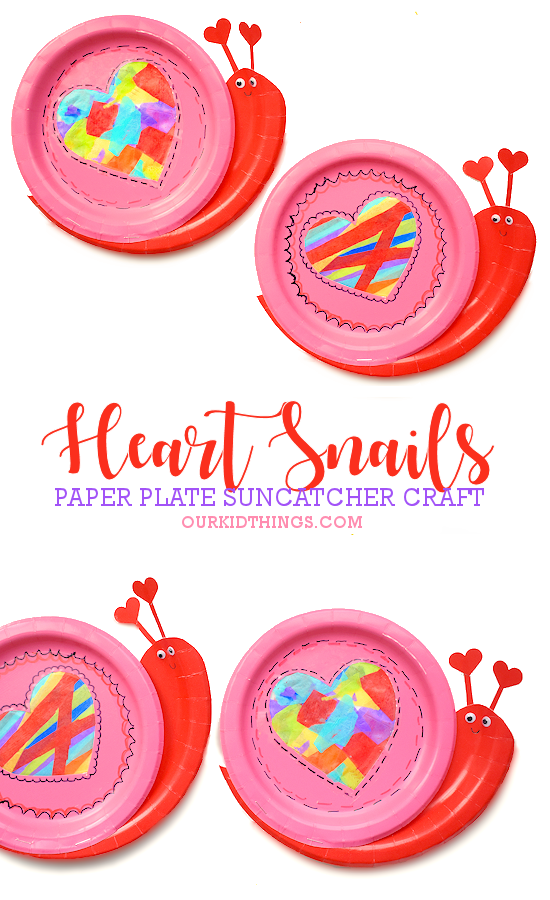 Paper Plate Snail Heart Suncatcher Craft pin image.