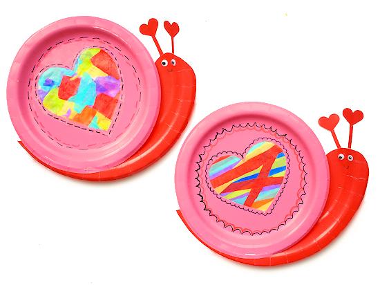 Paper Plate Snail Heart Suncatcher Craft styled image.