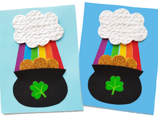 Paper Pot of Gold Craft styled image on white background.