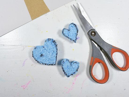 Cut out hearts from sponge.