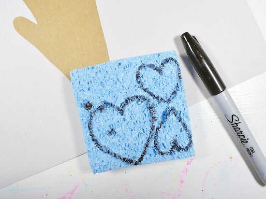 Draw hearts on sponge.