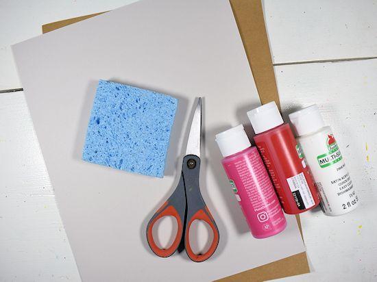 Sponge Heart Handprint Tree supplies needed.