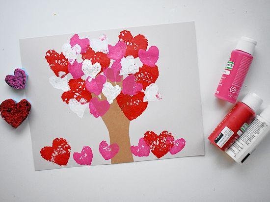 Sponge Heart Handprint Tree.