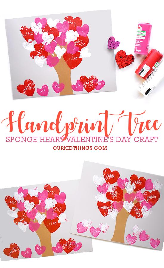 Sponge Heart Handprint Tree pin image.