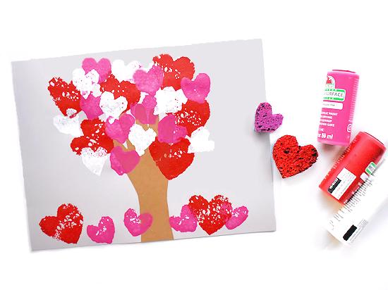Sponge Heart Handprint Tree styled image on white background.