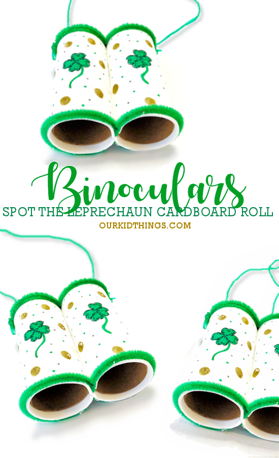 St. Patrick's Day Cardboard Roll Binoculars Craft pin image