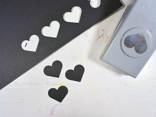Black paper hearts.