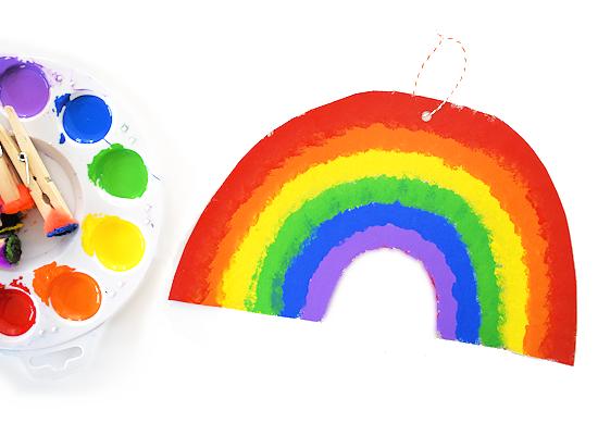 Cardboard Pom Painted Rainbows styled image.
