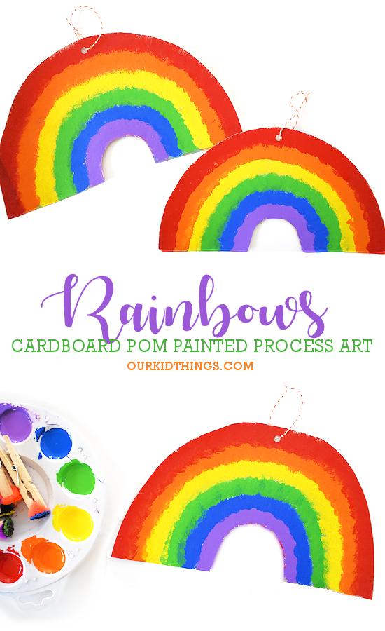 Cardboard Pom Painted Rainbows pin image.