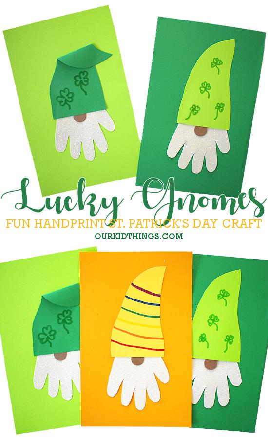 Handprint Lucky Gnome Craft pin image.