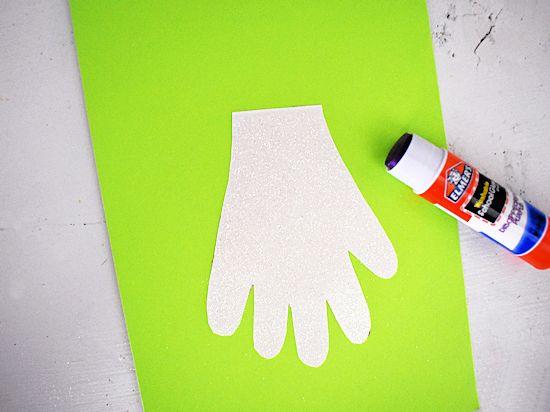 Glue handprint to cardstock.