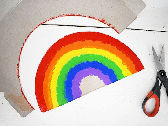Rainbow cut out from cardboard.