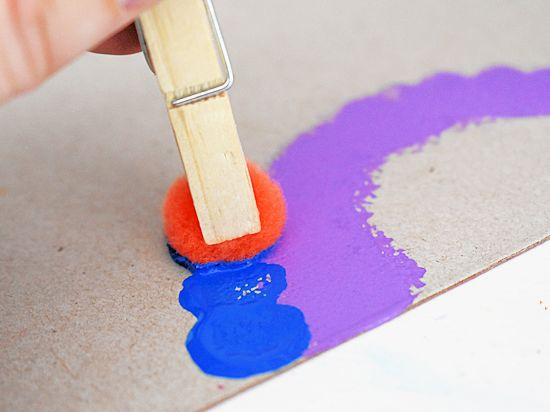 Blue paint pom stamps.