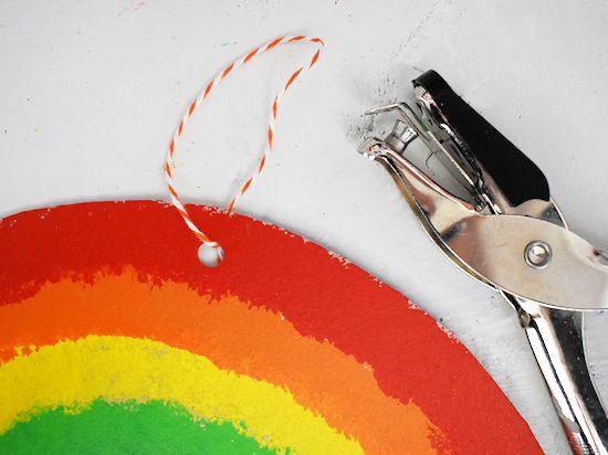 Twine tied onto top of rainbow.