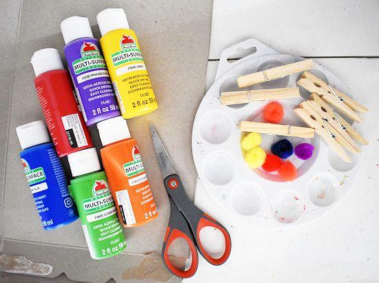 Cardboard Pom Painted Rainbows supplies needed.