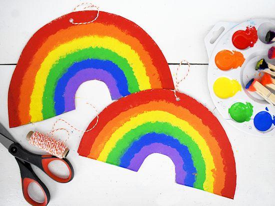 Cardboard Pom Painted Rainbows.