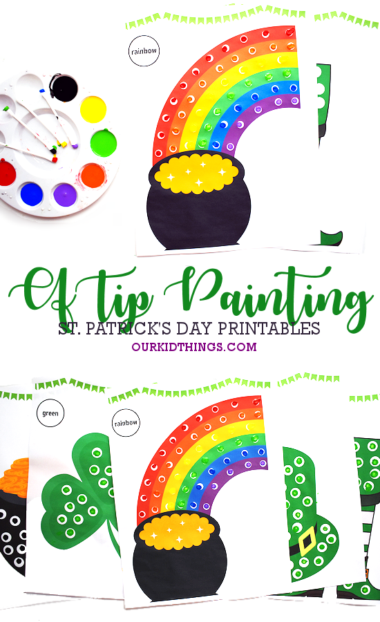 St. Patrick's Day Q-Tip Dot Painting pin image.