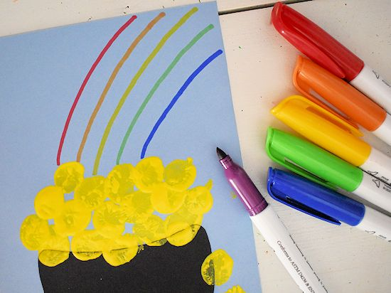 Draw rainbow with markers.