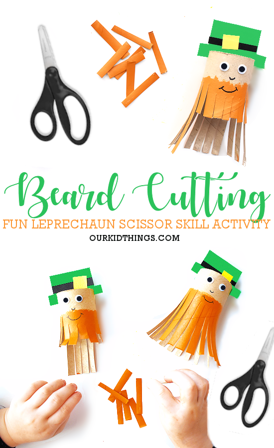 Trim the Leprechaun's Beard Scissor Craft pin image.