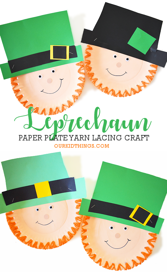 Paper Plate Lacing Leprechaun Craft pin image.