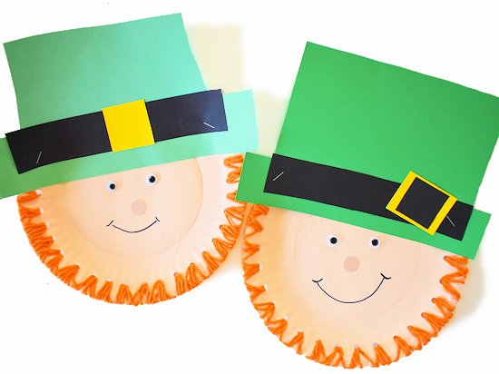 Paper Plate Lacing Leprechaun Craft styled image.