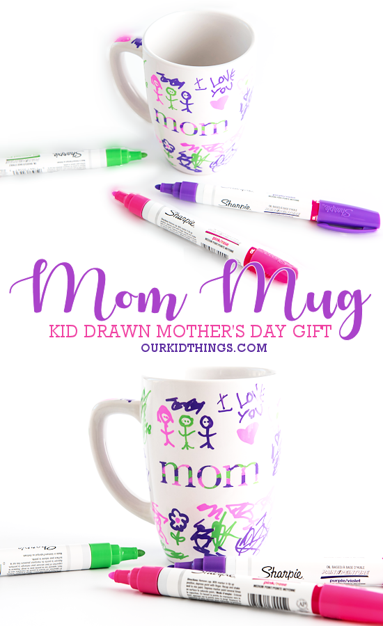 Kid-Drawn Mother's Day Mom Mugs pin image.