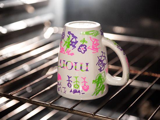 Bake mug in oven.