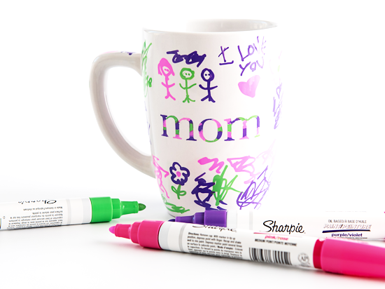 Kid-Drawn Mother's Day Mom Mugs styled image.