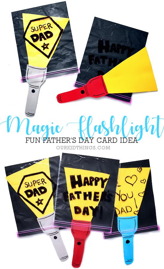 Father's Day Magic Flashlight Card pin image.