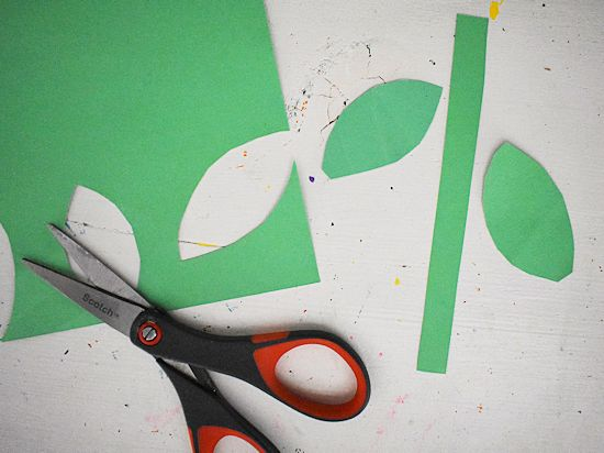 Cut a stem and 2 leaves from heavy green cardstock.