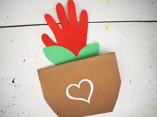 Handprint Flower Pot Card Craft.