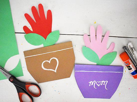 Mother's Day Handprint Flower Pot Cards.