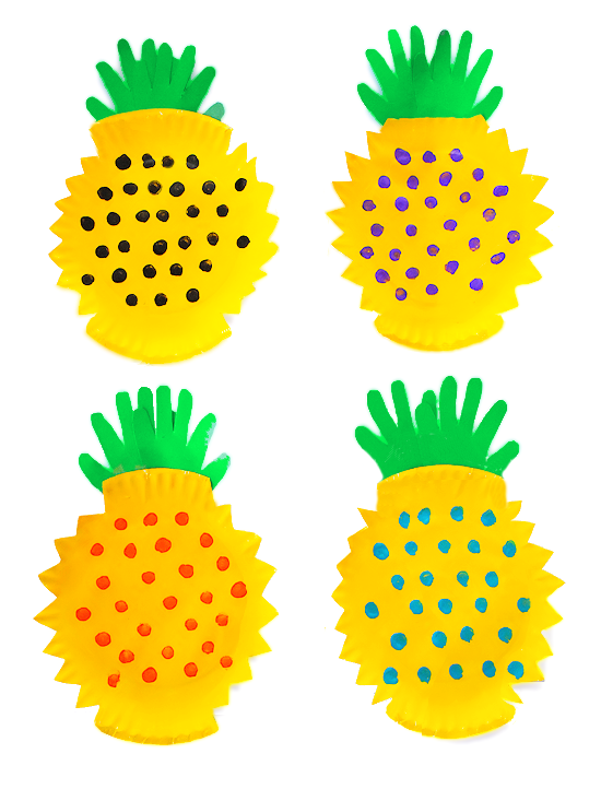 Paper Plate Handprint Pineapple Craft from Our Kid Things