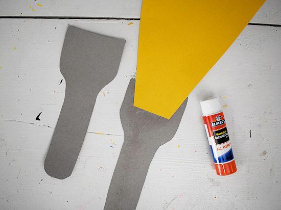 Glue yellow light to flashlight shape.