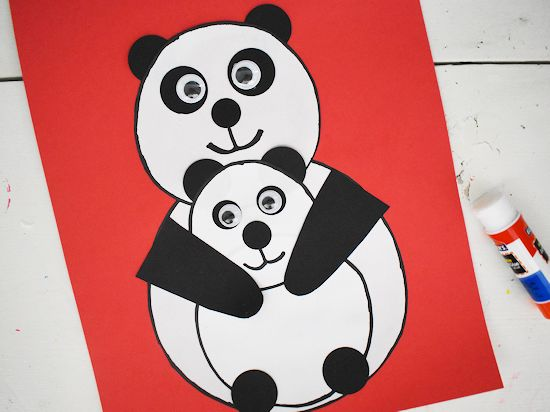 Glue arms in place holding baby panda.