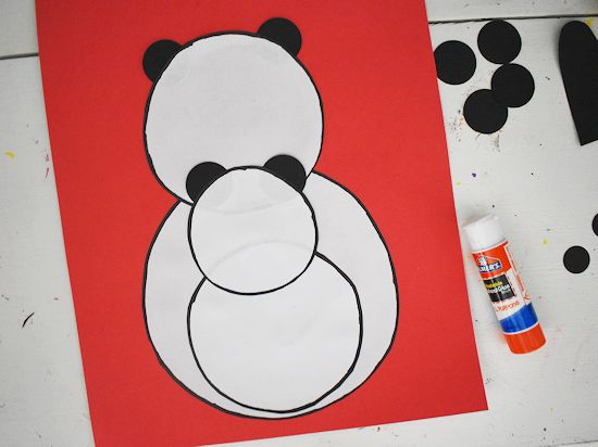 Glue baby panda in place.