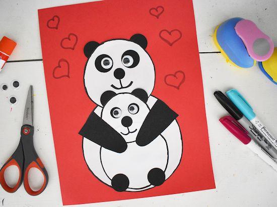 Mama and Baby Panda Bear Craft.
