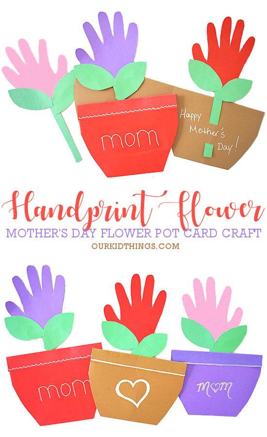 Mother's Day Handprint Flower Pot Card pin image.